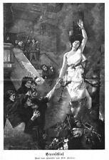 Hexe, Hexenschlaf, Original-Holzstich nach Albert Keller von 1889