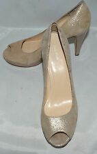 Calvin Klein Sandie Gold Suede Platform Heels with Kid Leather Lining Size 9.5 M