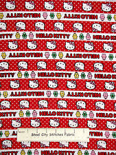 Hello Kitty Holiday Stripe Cotton Fabric Springs CP50196 Gingerbread Stripe YARD