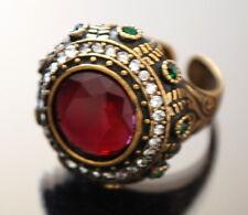 Designer dedo anular anillo Anillo de mujer Kadina Paris Edelstein jade bronce rojo Pl.