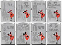 Zippo Windy Girl 8 Lighter Set Traveling Cities High Polish Chrome New Rare