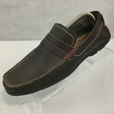 Ben Sherman Driving Moccasins Sz 10 Slip On Penny Loafers Brown Leather Shoes
