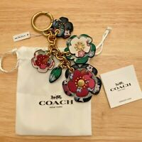 NWT Coach Tea Rose Mix Bag Charm With Multi Floral Print Smooth leather