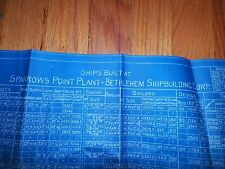 1919 Ships Built List Sparrows Point Plant Bethlehem Shipbuilding Blueprint FS