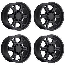 "Set 4 17"" Vision 372 Raptor Black Wheels 17x9 5x5 -12mm Jeep Wrangler GMC 5 Lug"