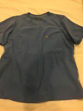 Figs Technical Collection Scrubs Top Shirt L Large Cyan Blue Women's