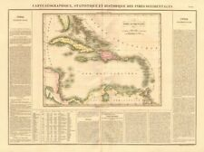 """""""indes occidentales"""". west indies. caraïbes. gran colombia. buchon 1825 carte"""