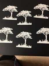 Tree with grass die cut for cards or scrapbook 6 pieces