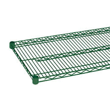 """Thunder Group Cmep2436 24"""" x 36"""" Green Epoxy Coated Wire Shelf w/ Sleeve Clips"""
