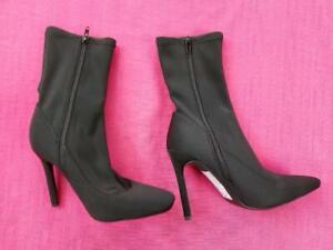 Women's Missguided Ladies Pencil Heel Boot Shoe Zip Back Size UK 4