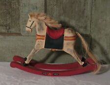 Sweet Primitive Carved Wood Wooden Christmas Rocking Horse Home Decor Toy