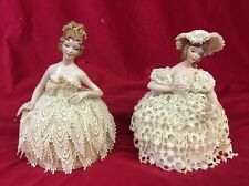 Lot 2 Vintage Porcelain Pin Cushion Half Doll Sewing