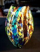 Stunning Murano Millefiori On Tutti Frutti Glass And Gold Inclusions Vase