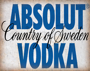 ABSOLUT VODKA VINTAGE ALCOHOL  METAL TIN SIGN POSTER WALL PLAQUE