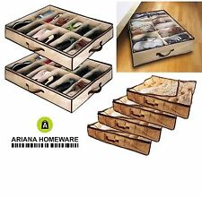 12 Coppia sotto letto SCARPA ORGANIZER STORAGE HOLDER SHOE BOX ordinato BAG TASCHE RACK