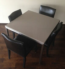 ROOM & BOARD Dining Table with Quartz Top and Four (4) Leather Chairs