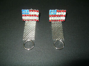 VINTAGE CUFF LINKS AMERICAN FLAG RED WHITE AND BLUE CRYSTAL