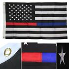 2x3 FT Thin RED + BLUE Line USA Flag Police Fire Dept American Embroidered Nylon