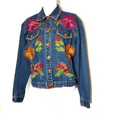 S Collection Womens Jean Jacket Distressed Floral Embroidery Beads Pockets