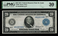 1914 $20 Federal Reserve Note - St. Louis FR-993 - Graded PMG 30 Very Fine