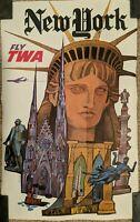 "VINTAGE 1950s DAVID KLEIN ""NEW YORK ~ FLY TWA"" TRAVEL POSTER AIRLINE ADVERTISING"