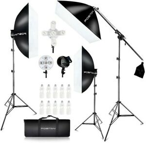 Camera 3 point lighting kit with bulbs and soft boxes - barely used