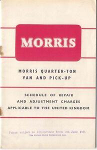 Morris Quarter Ton Van Pick Up Schedule of Repair Charges 1955