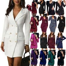 Women Formal Blazer Slim Dress Bodycon Long Sleeve Business Office Mini Dress UK
