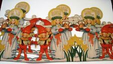 Vintage Christmas Decoration Banner w/ 6 Girls w/Candles on Heads & 6 Boys *