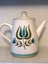"Franciscan Earthenware Tulip Time 7-1/2""  64 oz  Coffee Pot w/ Lid Green Blue G7"