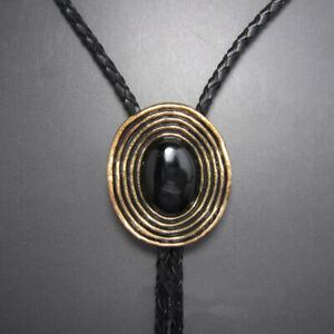 Black Obsidian Mens BOLO Tie Wedding Necklace Vintage Western Cowboy