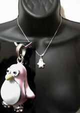 Baby Pink White Silver Penguin Bird Aquatic Animal Love Pendant Chain Necklace