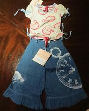 NWT Paper Wings Girl Alice in Wonderland Pants Stopwatch Clockwork Tee Size 2