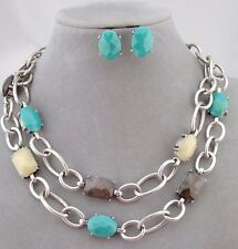 Layered Silver Chain Multi Color Acrylic Necklace Set Fashion Jewelry NEW