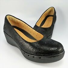 17d7663beff NEW - Clarks Artisan Platform Wedge Pumps Womens Size 6M Black Textured  Leather