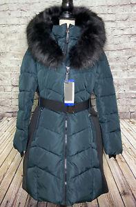 Calvin Klein Belted Parka Faux Fur Emerald Size L