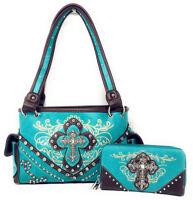 Concealed Carry Rhinestone Cross Floral Women/'s Handbag wallet set in 6 colors.