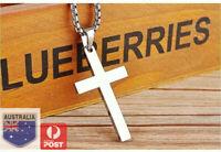 Stainless Steel Plain Silver Jesus Cross Crucifix Pendant Necklace Mens & Womens