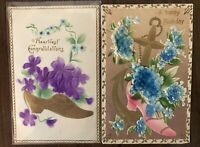 """Lot of 2 """"Victorian Shoes & Flowers"""" Antique Airbrushed Greetings Postcards-a461"""