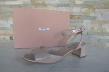 MIU MIU Gr 41 Sandaletten Schuhe Shoes Ziegenleder Lack nude neu ehem. UVP 495 €
