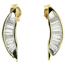 Baguettes Diamond Earrings 14k Yellow Gold