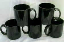 NEW Lot of 5 USA LIBBEY BLACK GLASS MUGS Coffee Hot Cocoa CUPS 13oz Heavy