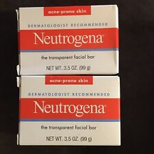 2 Neutrogena Transparent Facial Bar- Acne-Prone Skin Formula Soap 3.5oz