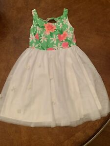 Lilly Pulitzer Girls green floral white tulle Dress sz 10