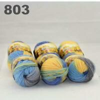 Sale New 6 Skeins x50gr Rainbows Multicolor Hand Knit Wool Yarn Wrap Scarves 03