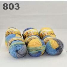 Sale New 6 Skeins x50gr Rainbows Multicolor Hand Knit Wool Yarn Wrap Scarves 03