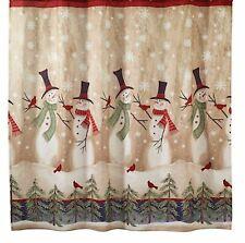 Avanti Fabric Shower Curtain NEW Tall Snowmen Winter Snowman not