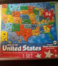 "NEW 84 Piece USA MAP Jigsaw Puzzle Cardinal Sealed! Free Shipping 24"" x 18"""