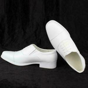 Mens Leather Round Toe White Oxford Low Heel Dress Shoes Business Military