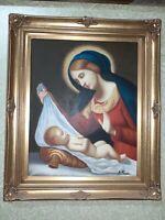 Quadro Dipinto A Mano Madonna Con Bambino cornice in legno foglia oro 55x65.